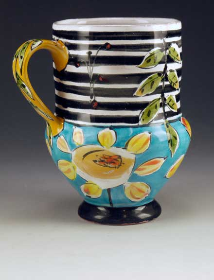 Linda Arbuckle. Cup with Sunflowers w Striped Top. Majolica on terracotta. 2012