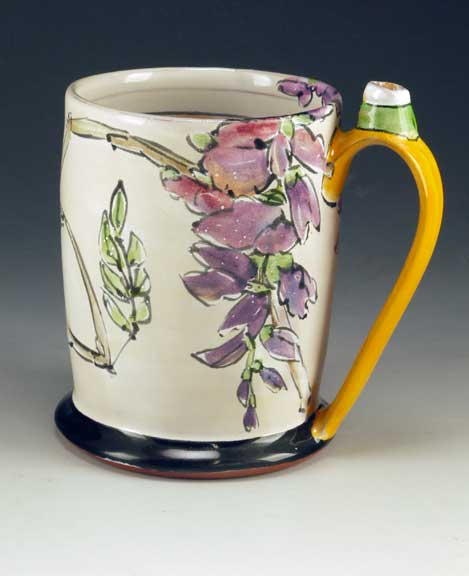 Linda Arbuckle. Tankard with Wisteria. Majolica on terracotta. 2012.