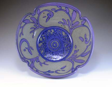 Arbuckle stoneware bowl: Emily Purple next to Choy Celadon