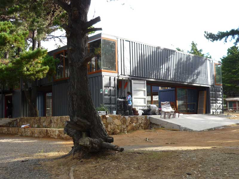Curaumilla Arts Center studio, made from recycled shipping containers.