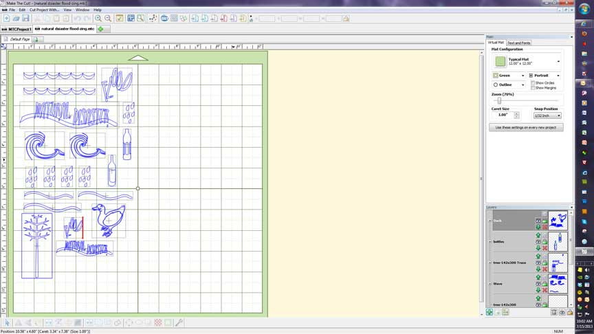 Screen shot from Make-the-Cut software of page to be cut