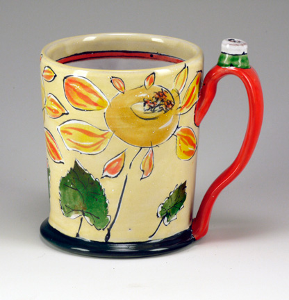 arbuckle-2014-tankard-w-sunflowers-w-red-handle